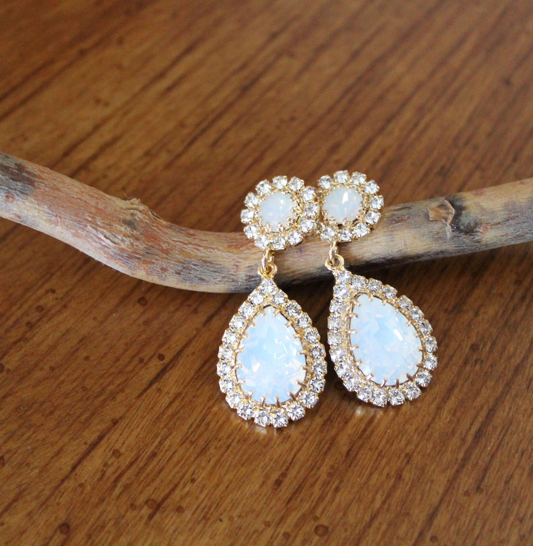 Opal Bridal earrings Bridal jewelry Swarovski Crystal earrings Gold teardrop Wedding earrings Crystal drop earrings Wedding jewelry by CoutureBridalStudios on Etsy earrin...