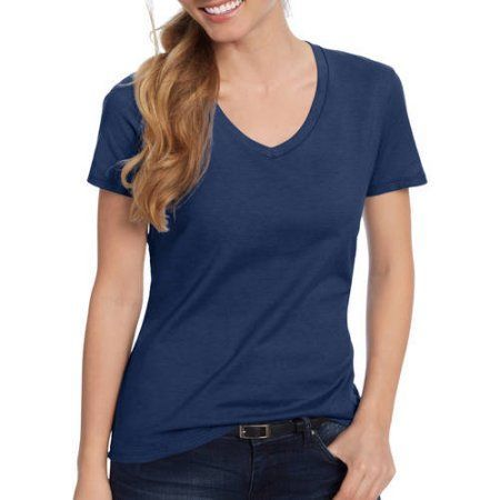 Hanes Women's Plus-Size Lightweight Short Sleeve V-neck, Size: 2XL, Blue
