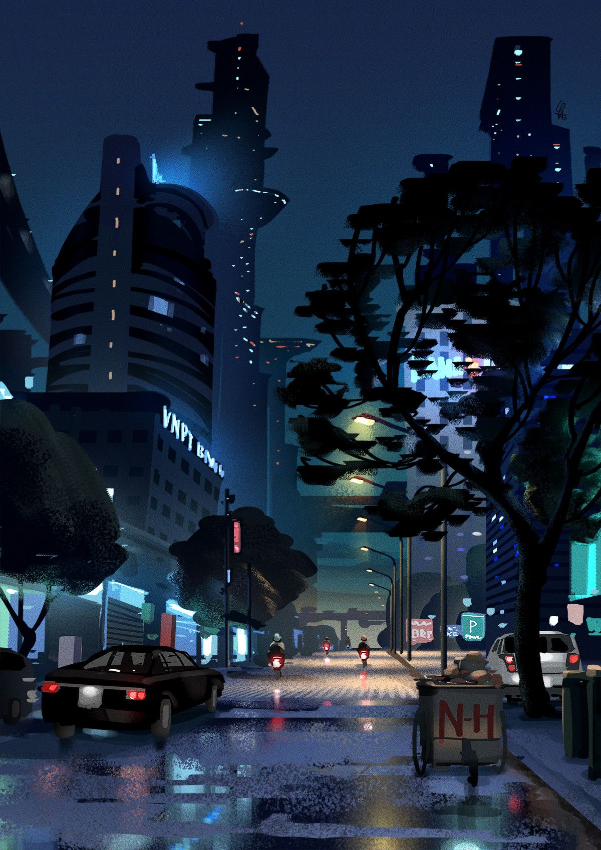 Artstation Sketch Night Street After Rain Le Long City Illustration Fantasy Landscape Night City