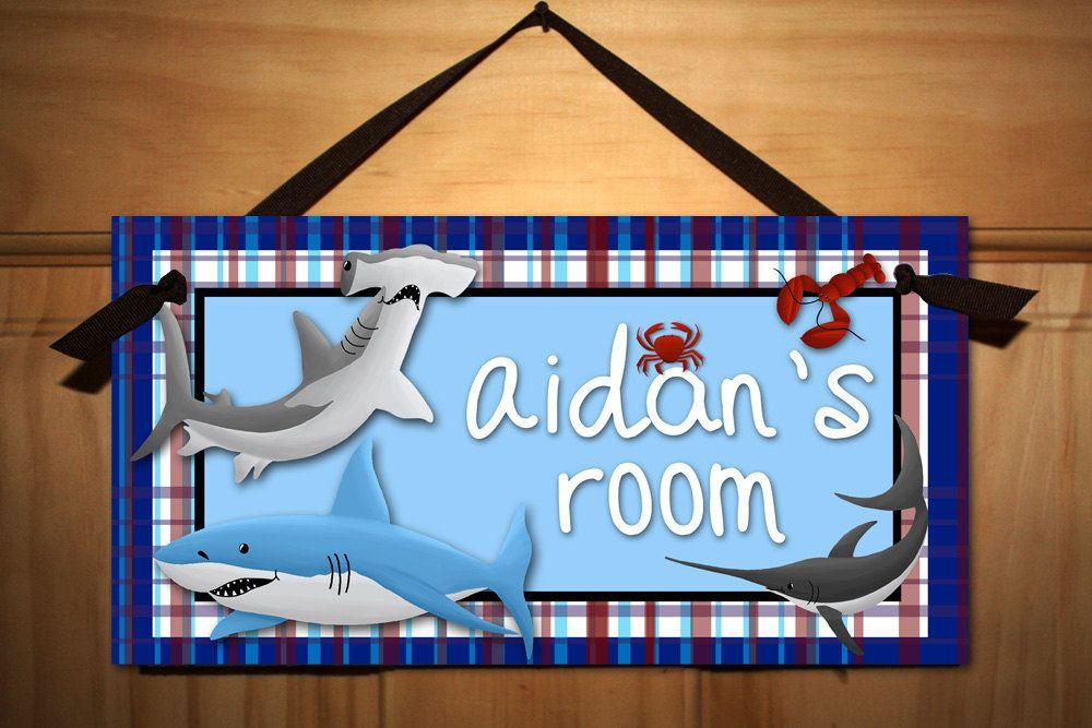 Shark Large WALL DECALS Boy's Bedroom Baby Nursery Art Decor. $75.00, via Etsy.
