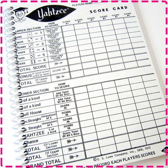 VINTAGE YAHTZEE GAME Score Card Original Recycled Notebook ...