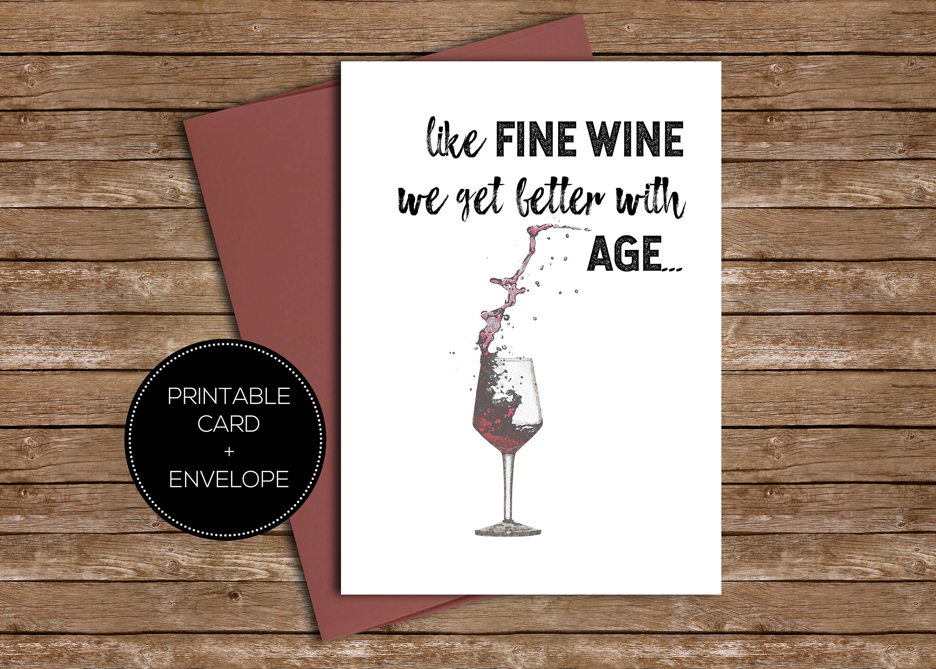 Wine Printable Birthday Greeting Card Instant Download Envelope