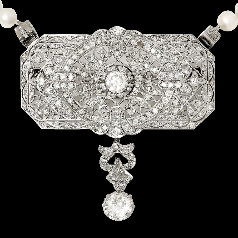 Vintage european diamond pendant pearl necklace in platinum ctw