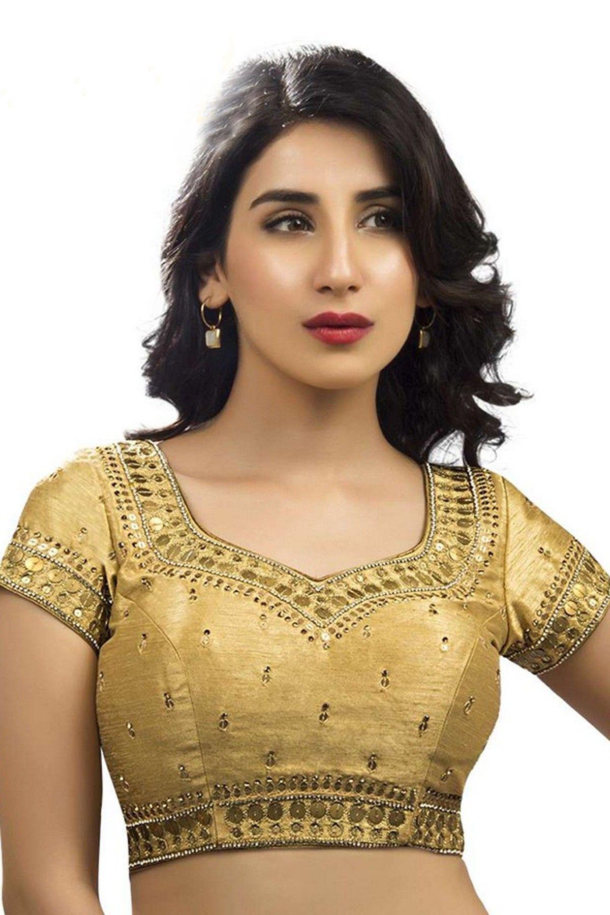 372e57f6df Gold raw silk festive wear blouse with back deep pot neck -BL561 | Designer  golden blouse online | #gold #blouses
