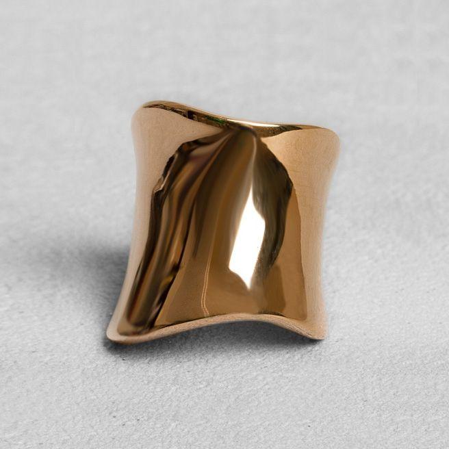 Petit Sesame | Ip rose gold wave ring | Designed by Petit sesame | $13.00 | Rose gold ip coated stainless steel corrugated ring