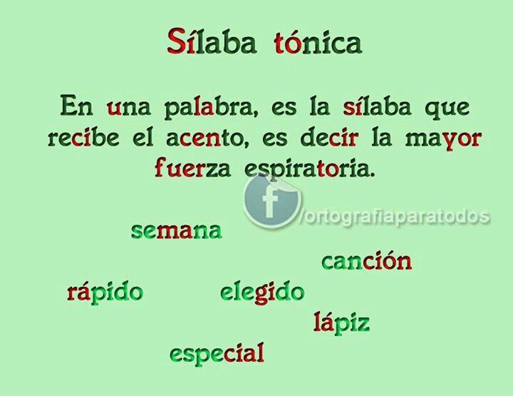 Silaba Tonica Silabas Tonica Silabas Tónica