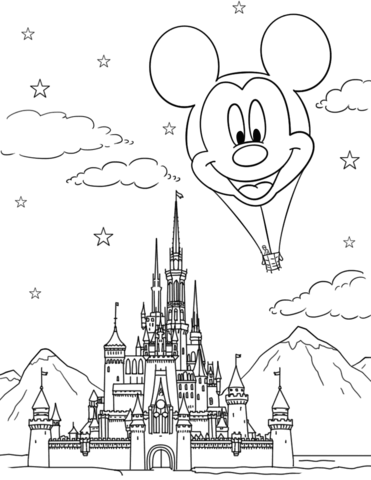 Disney Castle And Mickey Mouse Hot Air Balloon Coloring Page Disney Coloring Pages Printables Disney Coloring Pages Free Disney Coloring Pages