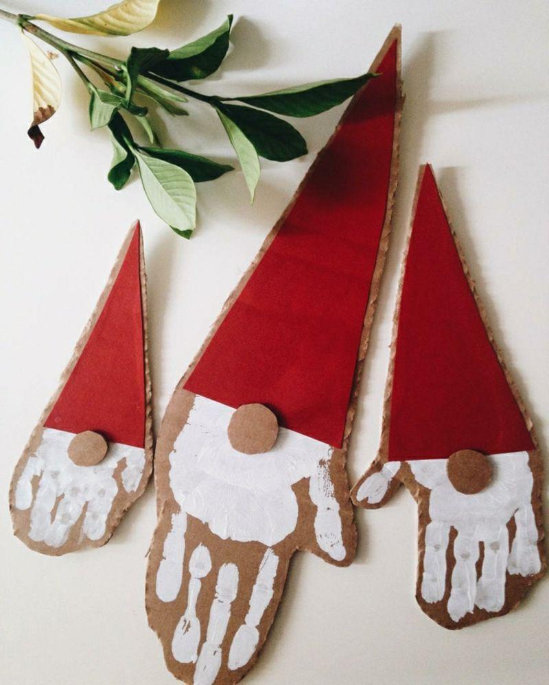 Nikolaus basteln mit Kindern Handabdruck Pappe | Weihnachtsschmuck ...