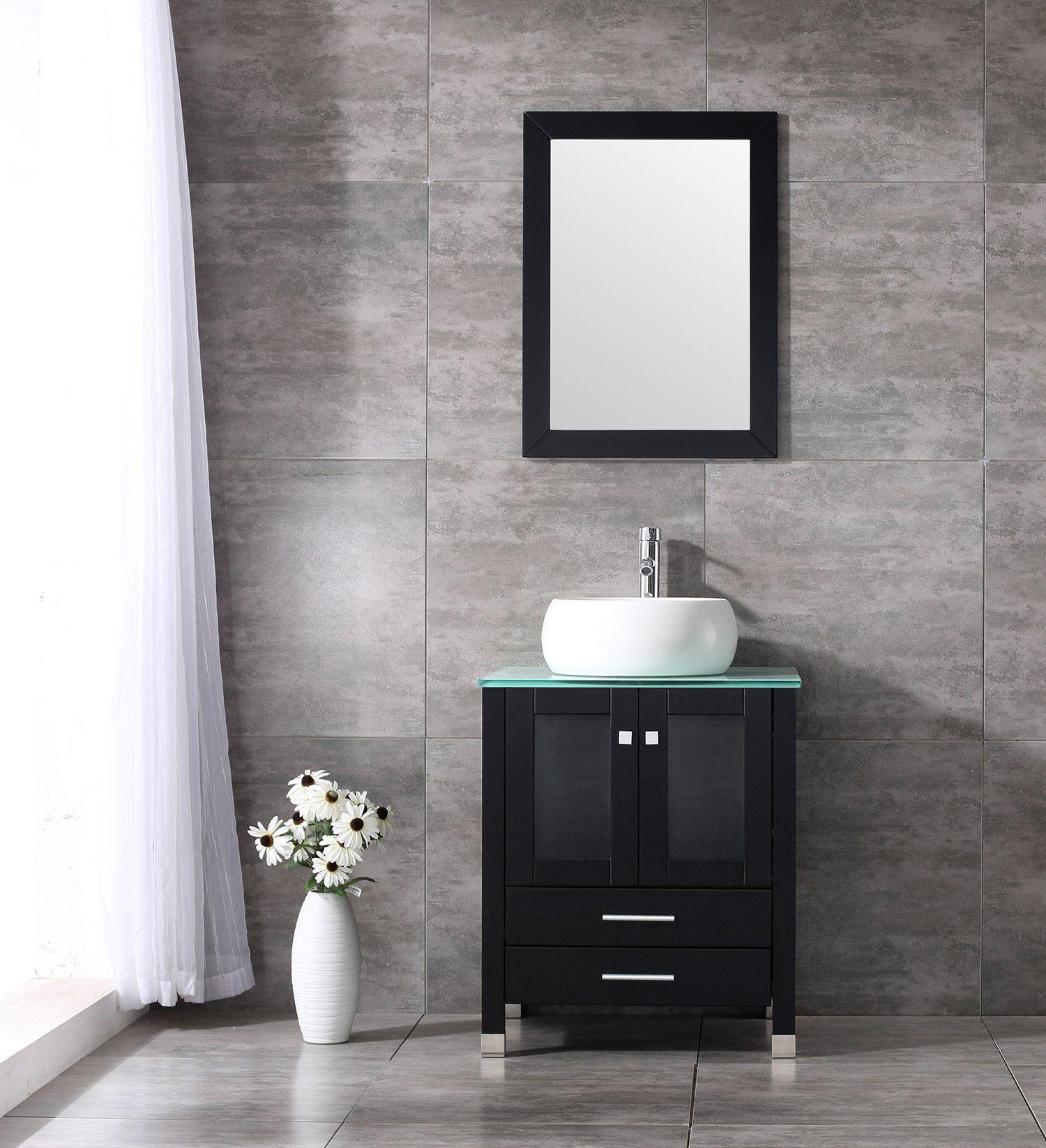 Walcut inch wood bathroom vanity mirror cylinder vessel sink