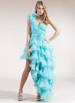 A-Line/Princess One-Shoulder Asymmetrical Organza Satin Homecoming Dress With…