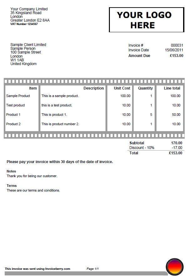 Invoice Template For Photographers And Film Makers Invoices