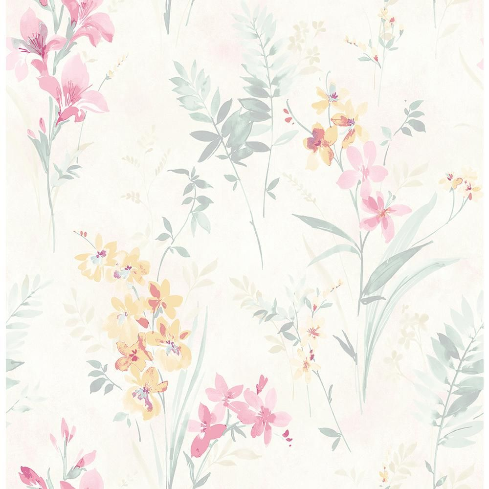 8 In X 10 In Henrietta Pastel Floral Wallpaper Sample Multi Colored Floral Wallpaper Flower Wallpaper Botanical Wallpaper