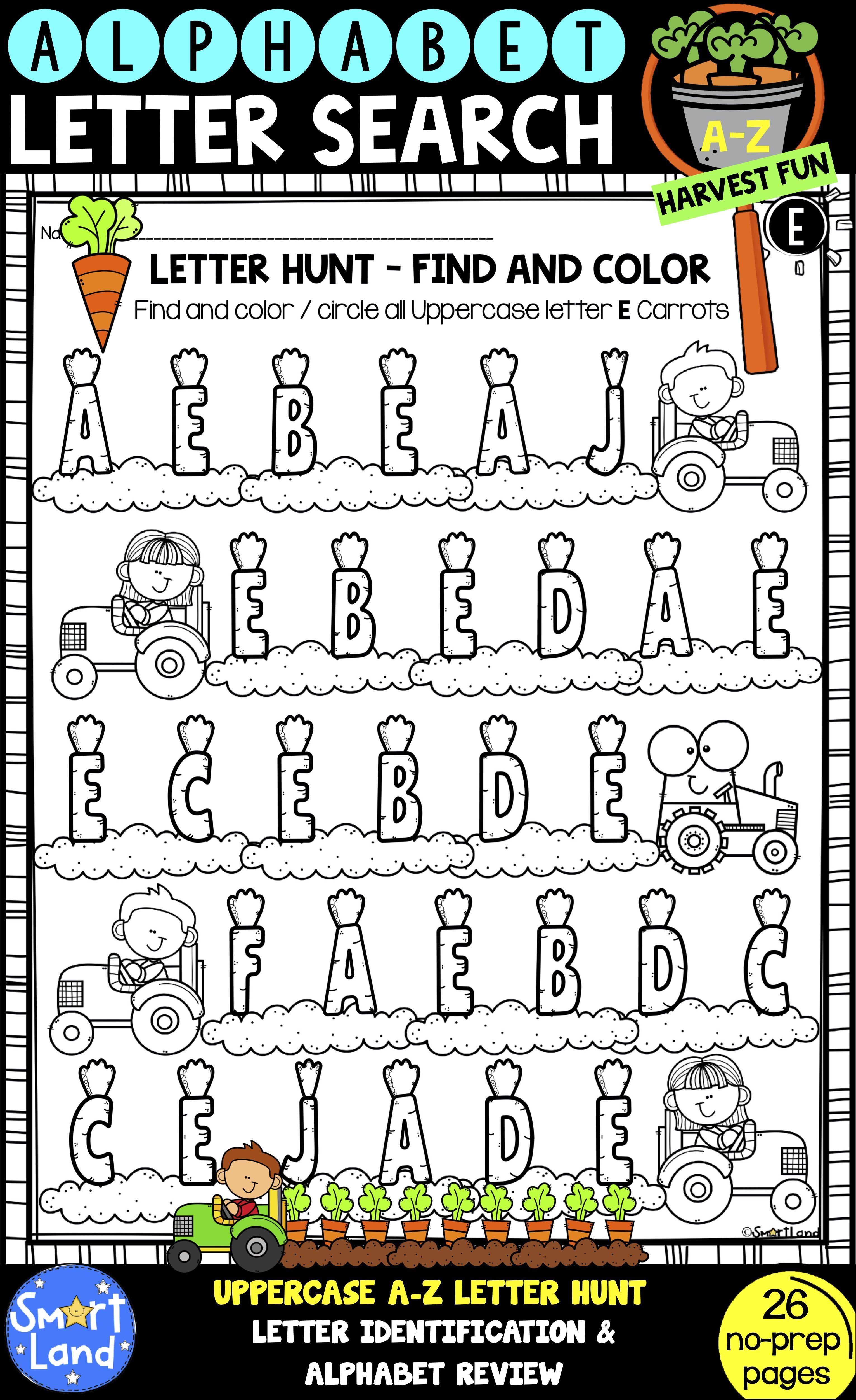 Alphabet Practice Worksheets Letter Search Harvest Fun Alphabet Practice Alphabet Practice Worksheets Lettering