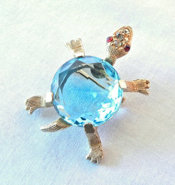 Aqua Blue Turtle Brooch Pin, Jelly Belly Large Clear Rhinestone with Red Jewel Eyes, Goltone Figural, 60s