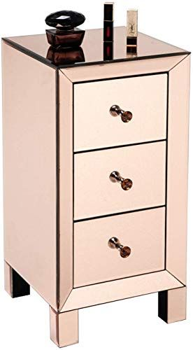 Mirrored Bedside Table With Drawers: New Goujxcy 3 Drawers Mirrored Accent Chest,Nightstand