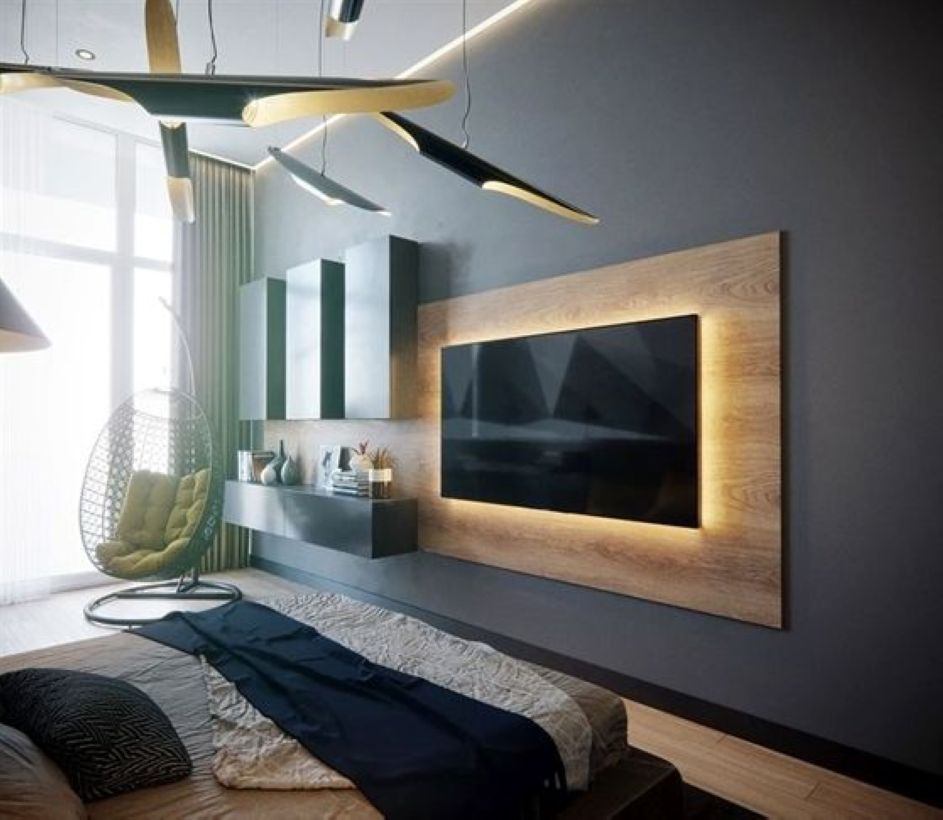 Nice 52 Wall Tv Place Ideas By Using Pallets As Material For Making It Https Decoraiso Com Index Php 2018 Bedroom Tv Wall Tv Room Design Living Room Tv Wall