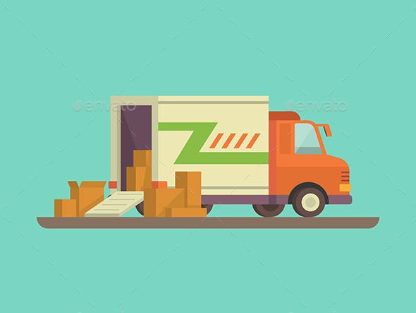 Unloading Or Loading Delivery Truck Truck Design Food Delivery