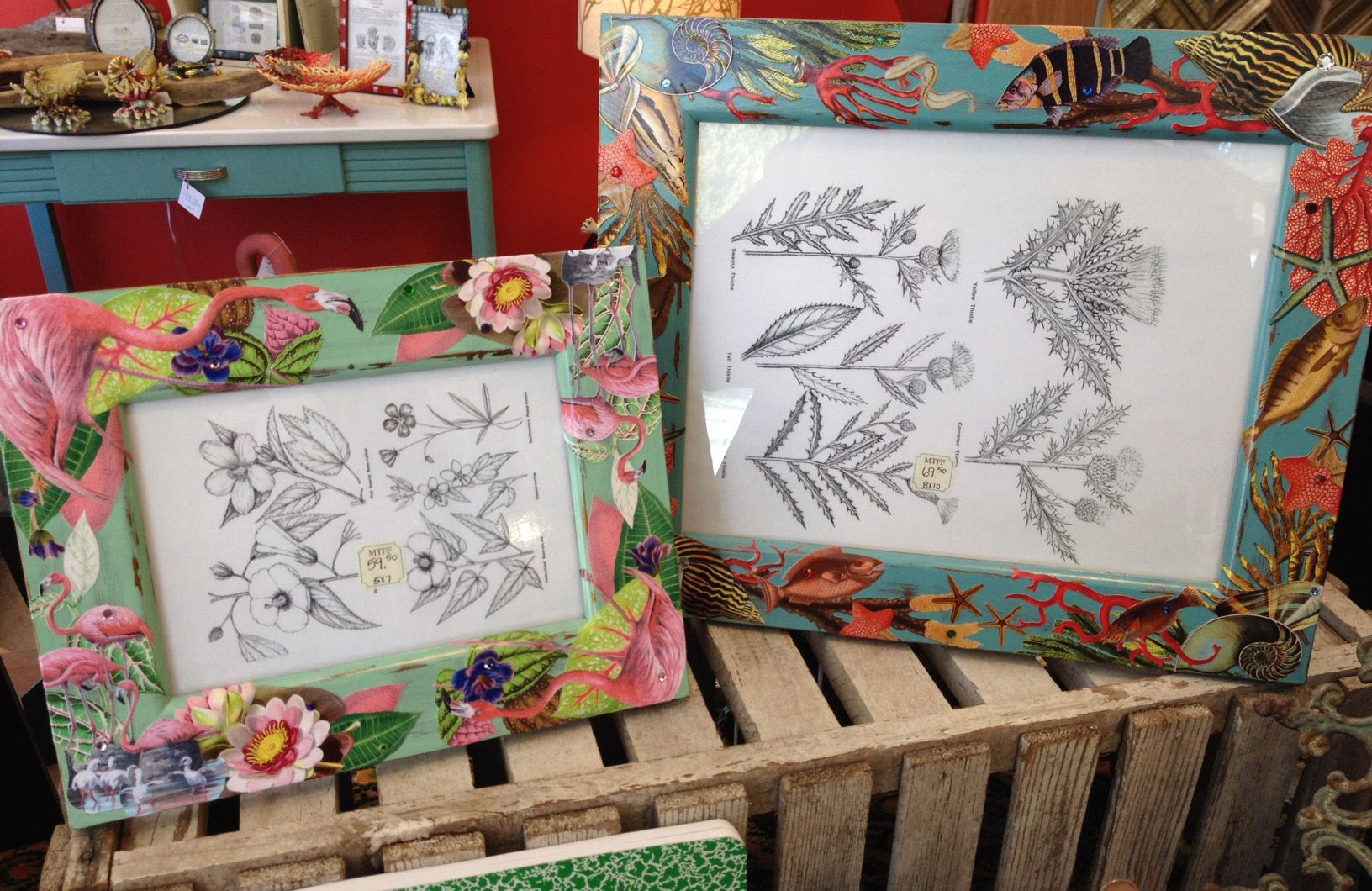 Two fabulous photo frames Flamingo Paradise 5x7 and Undersea Treasures 8x10 both made by Terri Yellalonis. Both SOLD!