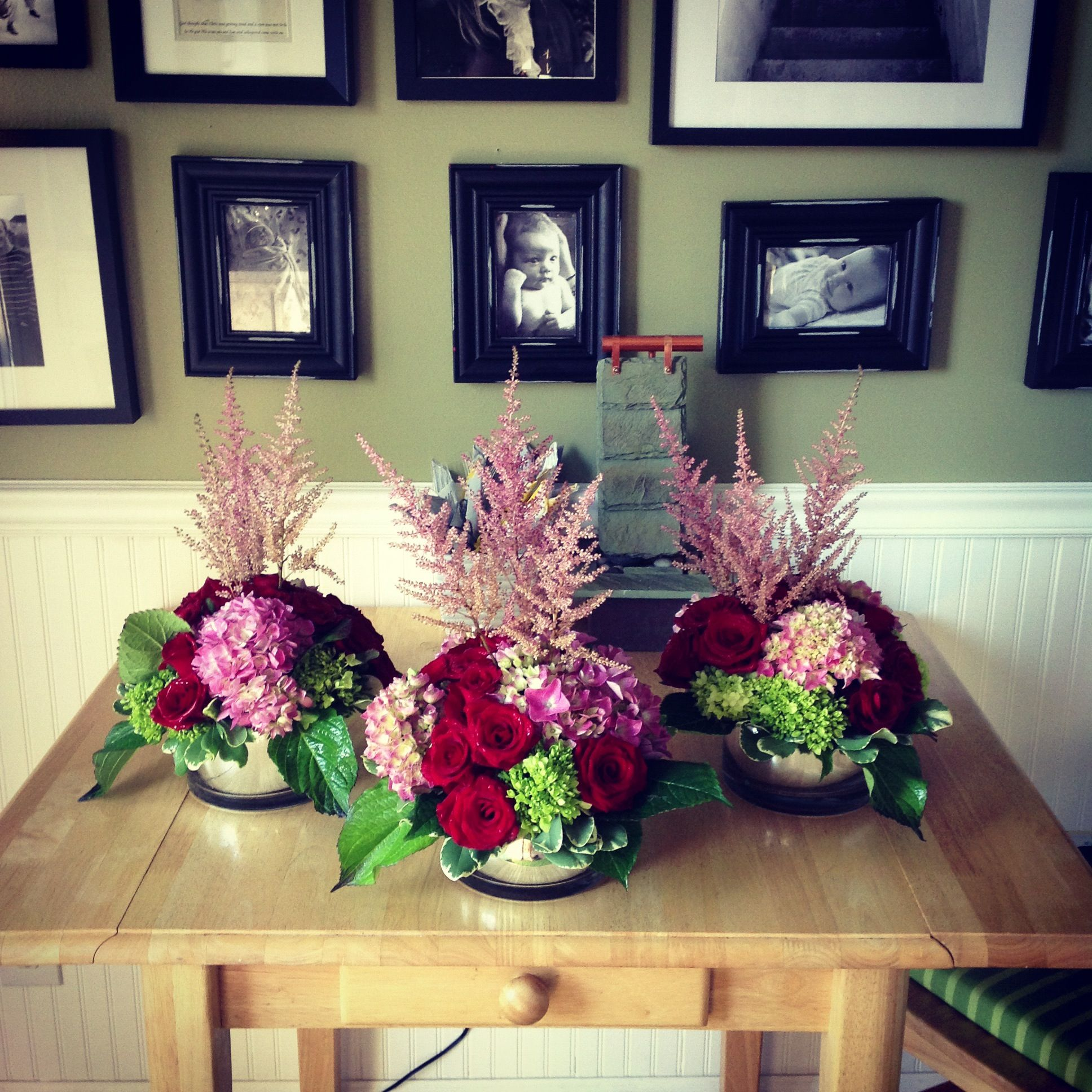 Red Roses And Pink Astilbe Wedding Centerpieces Weddings