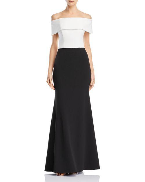 38d5383384c AQUA - Off-the-Shoulder Color-Block Gown - 100% Exclusive