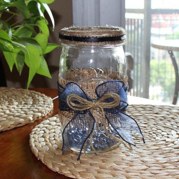 set of 12 rustic burlap quart sized mason jars with navy blue ribbon rh pinterest com