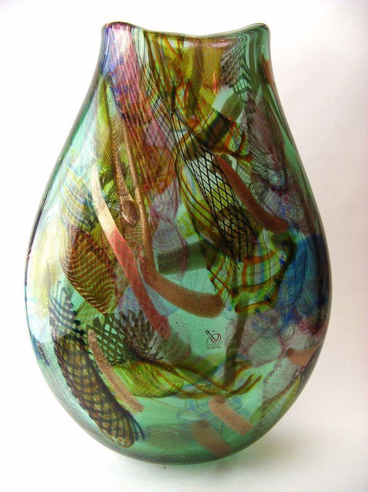 TOP XL MURANO GLAS ART VASE GLAS MASTER F. RAGAZZI SIGNED