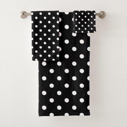 Black Polka Dot Bath Towel Set Zazzle
