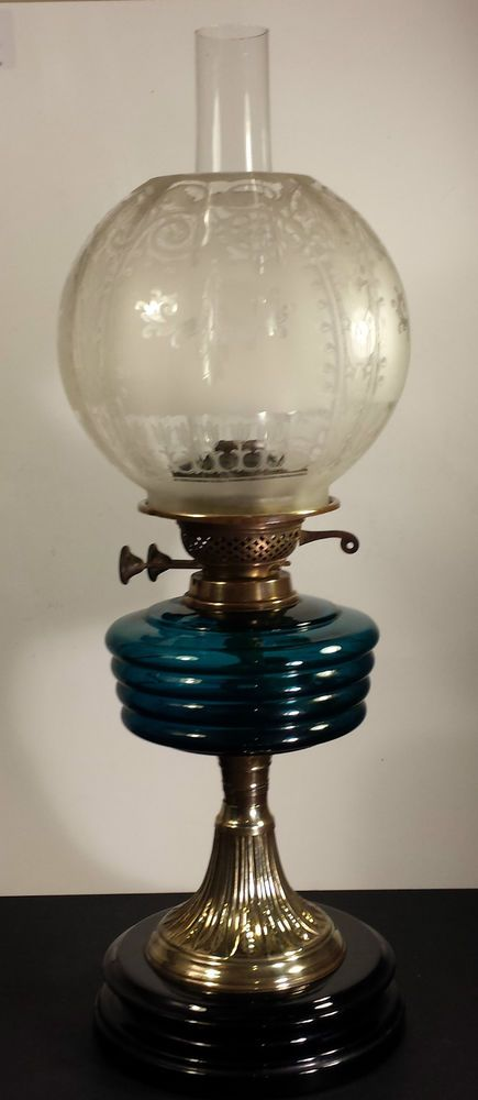 Original Victorian Veritas Lamp Works Brass Oil Lamp With Etched