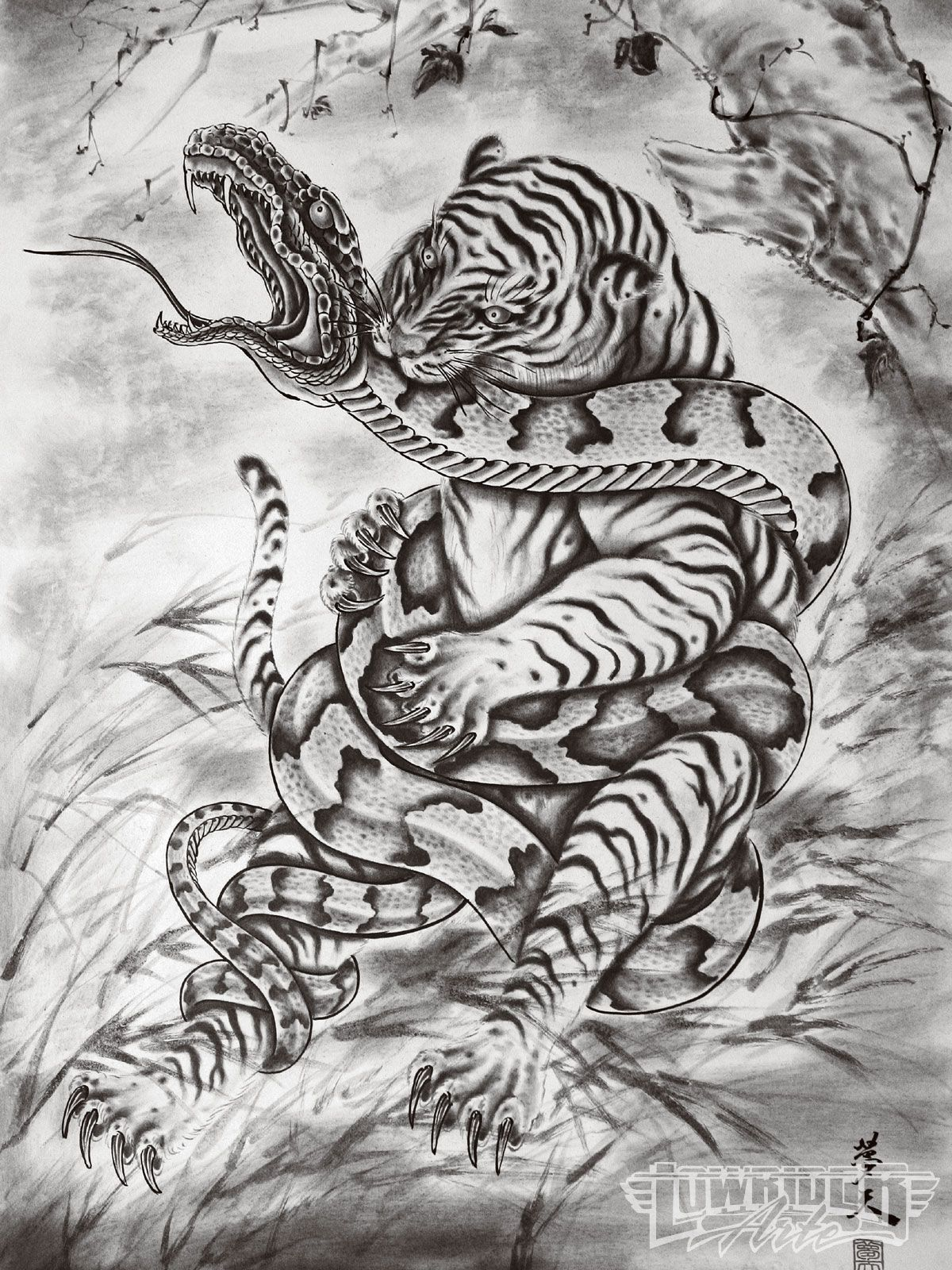 Japanese art snake vs tiger tattoo artist horiyoshi iii for Japanese tattoo art