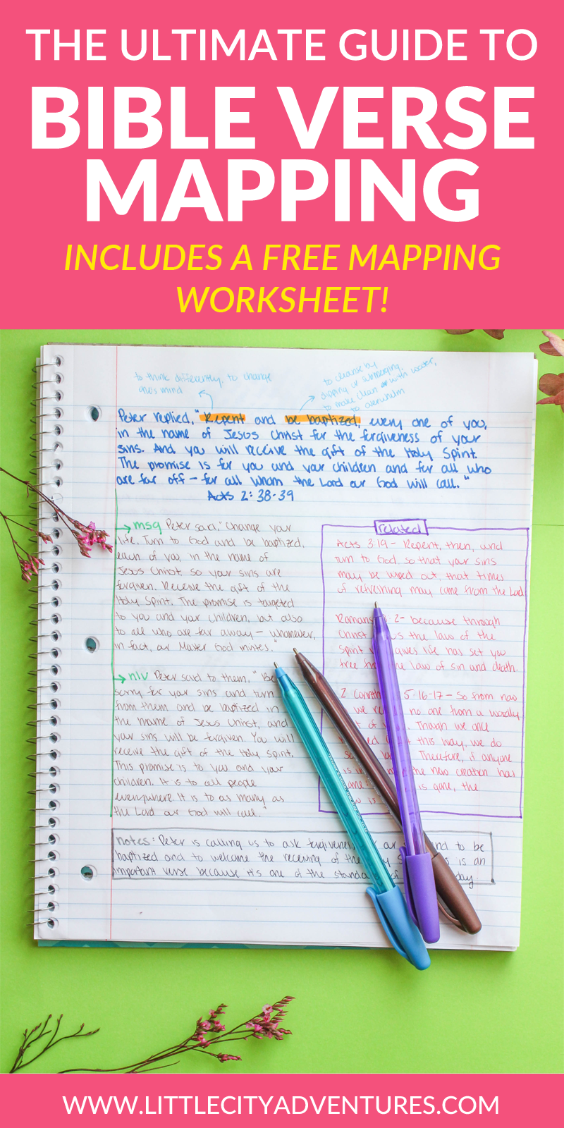"I was browsing Pinterest one day when I came upon a blog post about  something called ""Bible Verse Mapping."" I was instantly intrigued by the  photo of the well-organized and color coded notes (I'm kind of a nerd about  note taking, I find it fun!) and decided to do more research on ver"