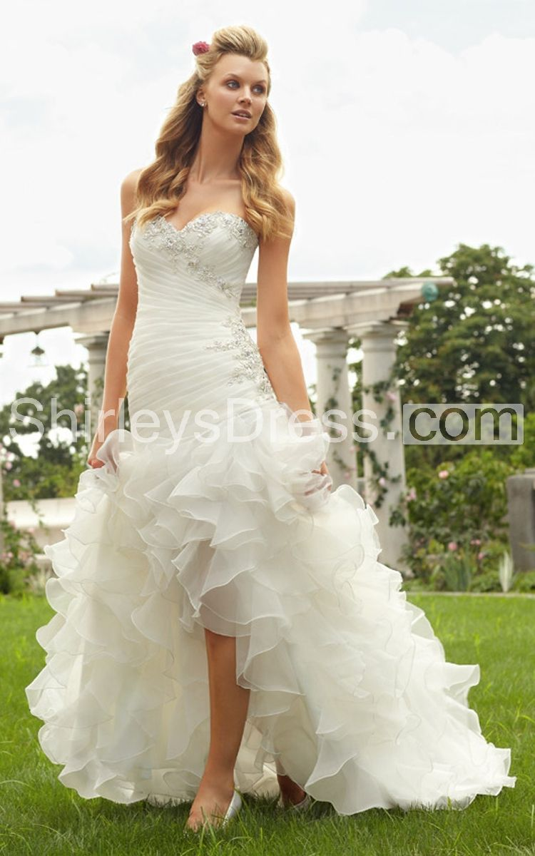 Cheap rustic wedding dresses  Delicate Embroidered Lace Hilo Ruffled Organza Wedding Gown