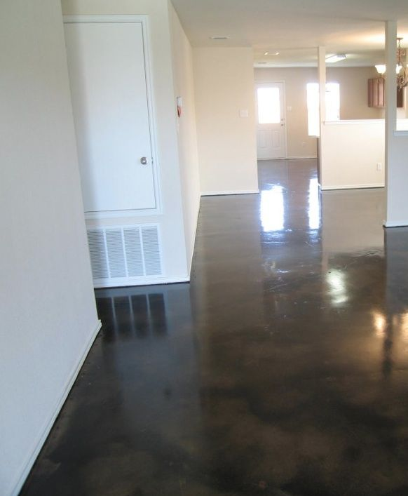 Dark black stained concrete floors for my future kitchen to match the dark hardwood floors in my
