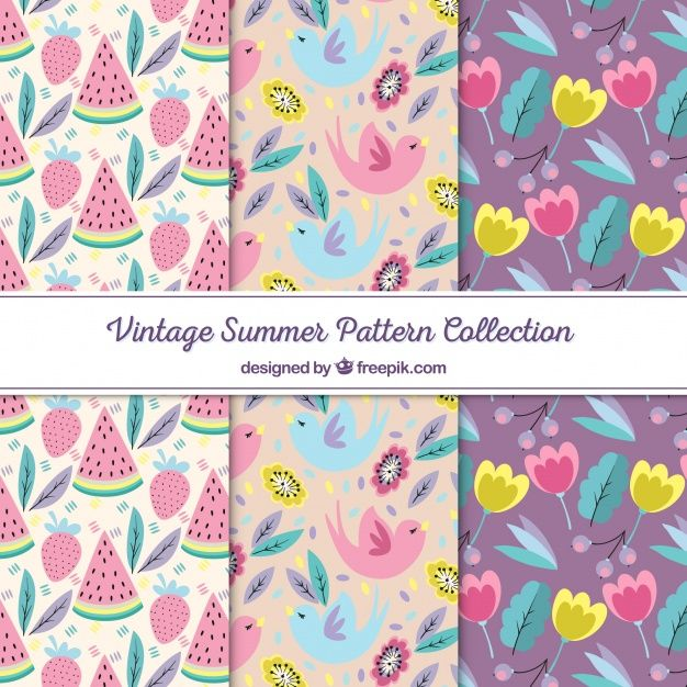 Download Set Of Summer Patterns With Beach Elements In