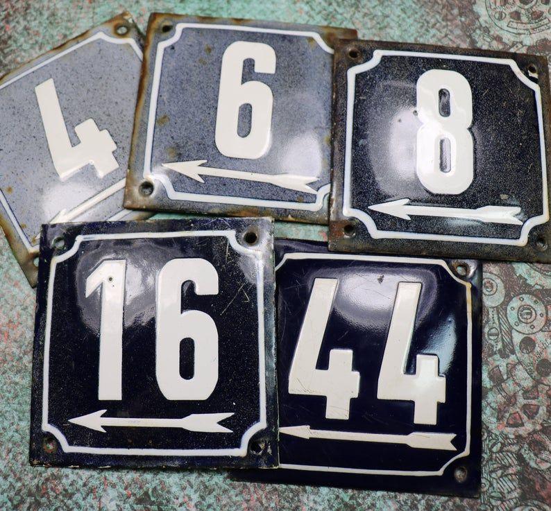 1 Antique Large Porcelain House Number Plate With Arrow With Images House Number Plates