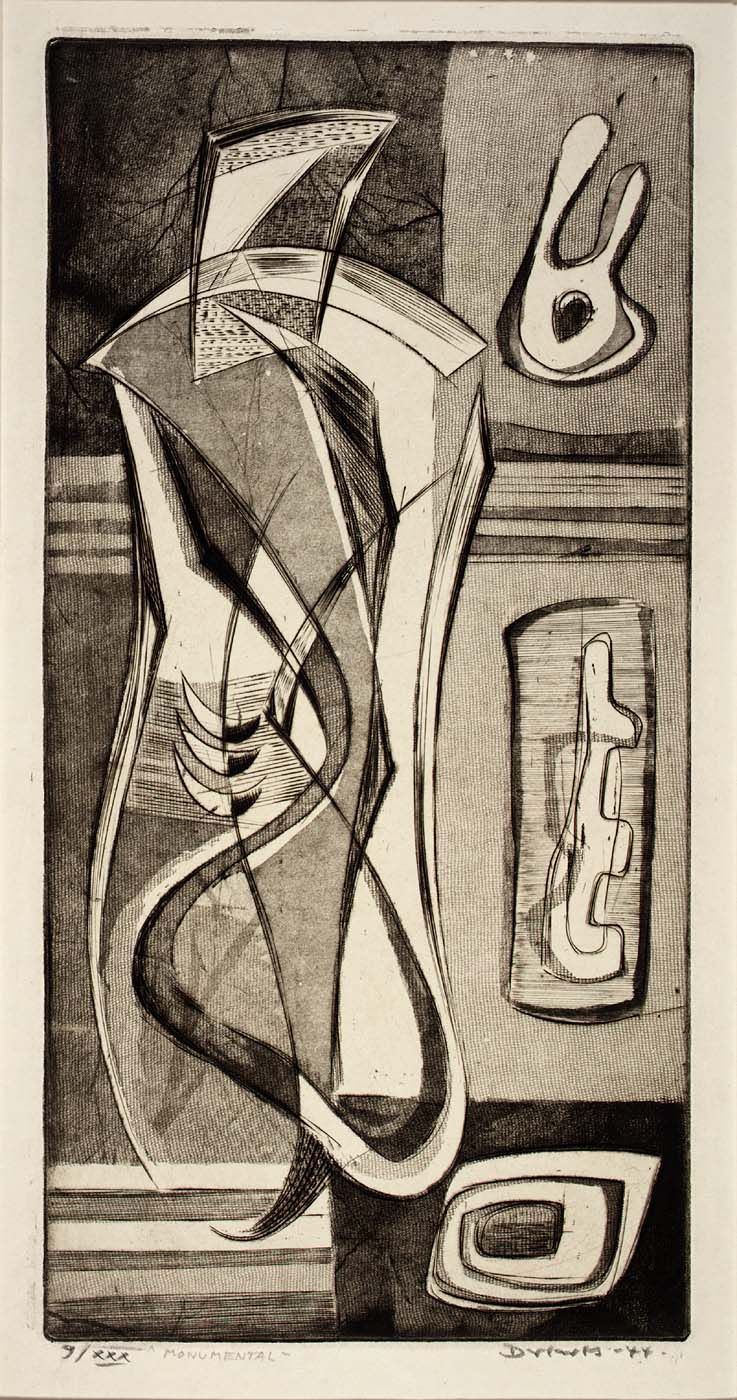 Werner Drewes - Monumental, 1944, engraving and softground etching on paper