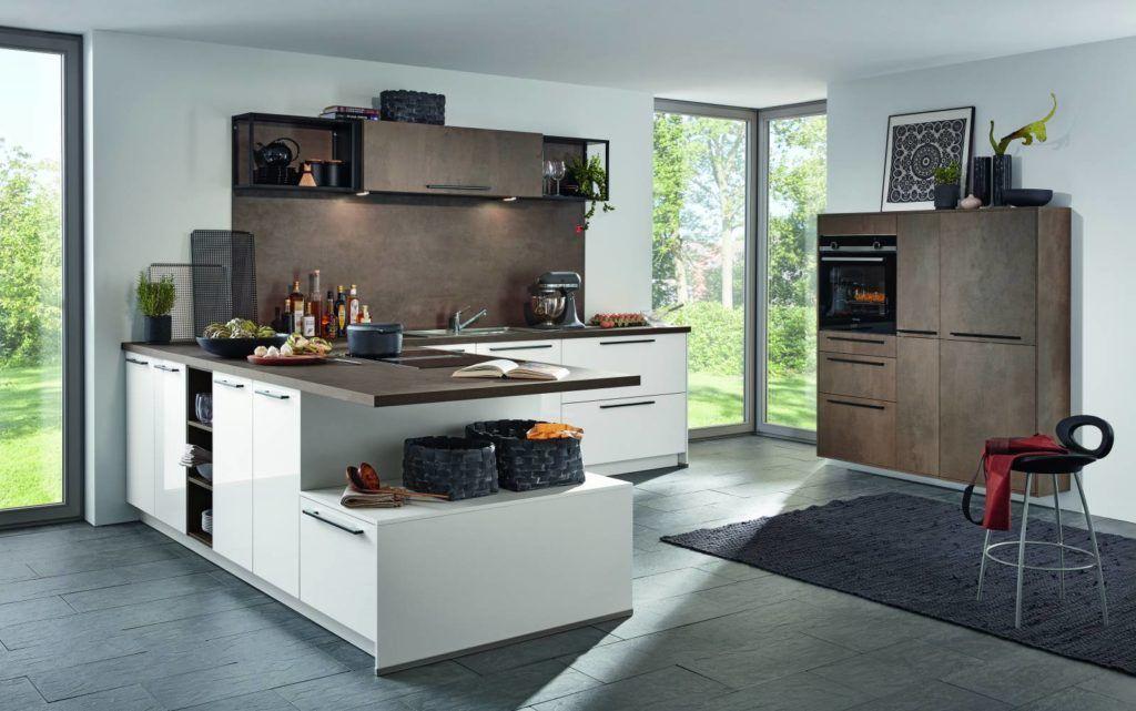 Bauformat Küche Pamplona Hochglanz Weiß, Kupferbronze