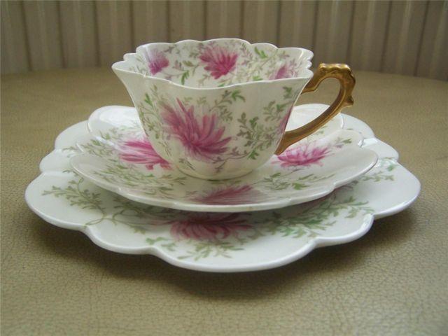 RARE Foley Wileman Pink Chrysanthemum Trio Circa 1890s Pre Shelley Empire Design   eBay