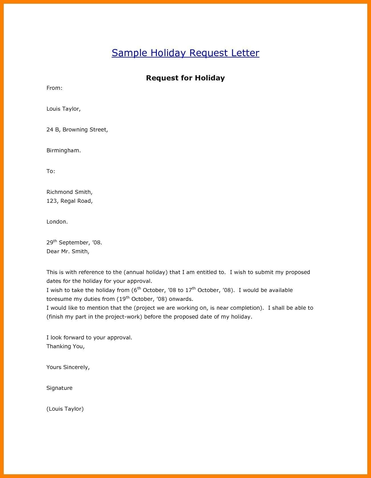 New Sample Letter Of Vacation Leave | Lettering, Resume ...