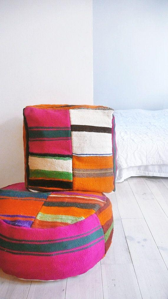 Moroccan kilim pouf round stripe interior wish list for Marokkanische bodenkissen