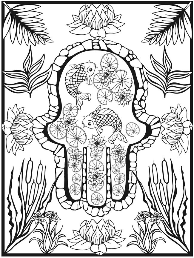 Colouring-in page - sample from \'Creative Haven Hamsa Designs ...