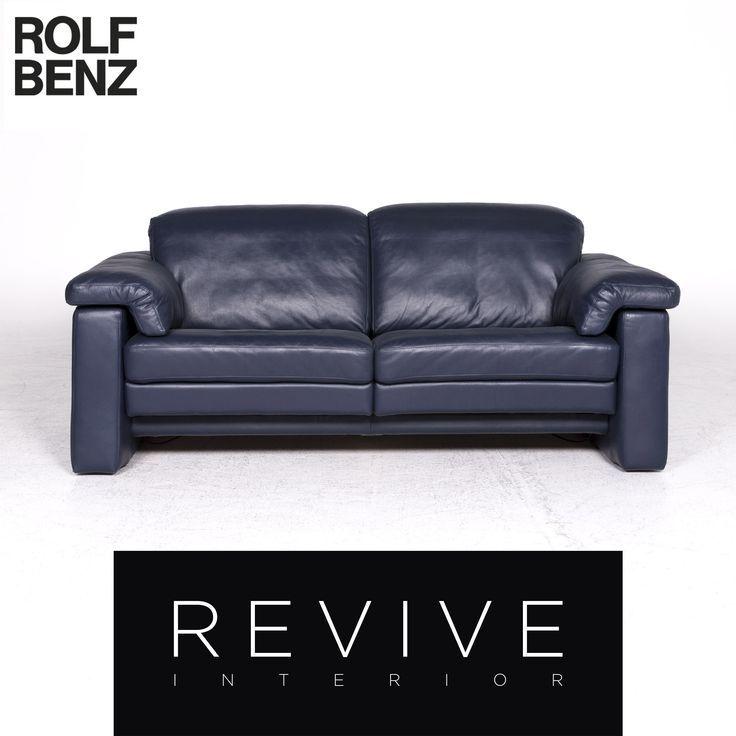 Rolf Benz Designer Leder Sofa Blau Zweisitzer Couch Funktion 8940