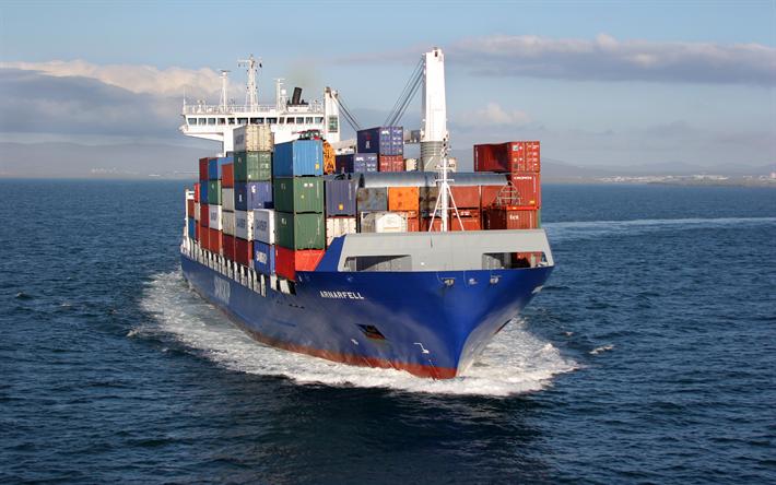 Download Wallpapers Arnarfell 4k Container Ship Cargo Ship Samskip Besthqwallpapers Com Cargo Shipping Maersk Line Tanker Ship