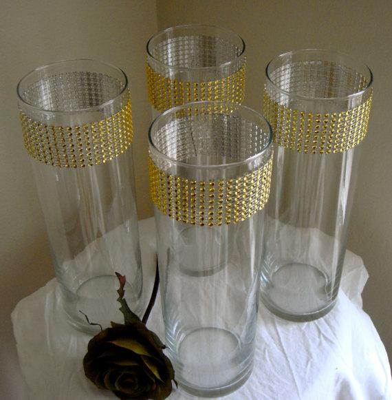Set Of 10 Gold Rhinestone Wrap Glass Cylinder Vases By Modmv