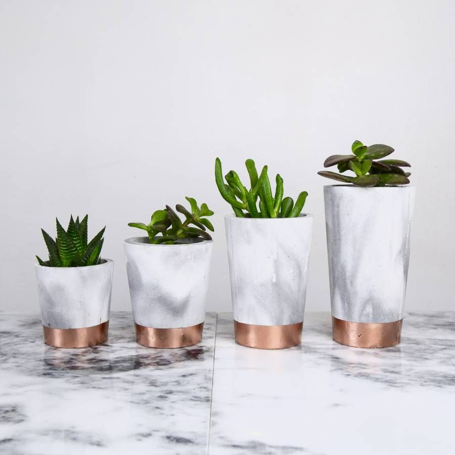 Copper Dipped Marbled Cement Pots Home Is Where The