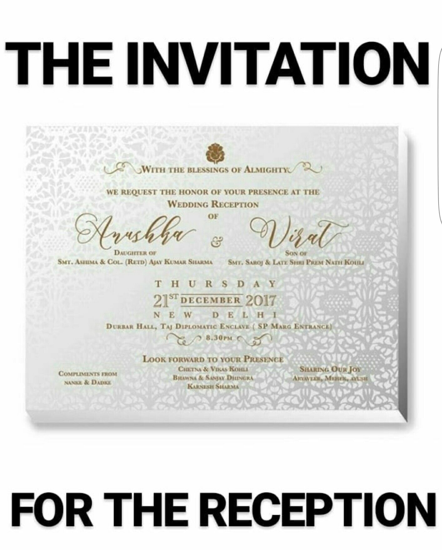 Virat and Anushka ,card. (With images) | Wedding tools ...