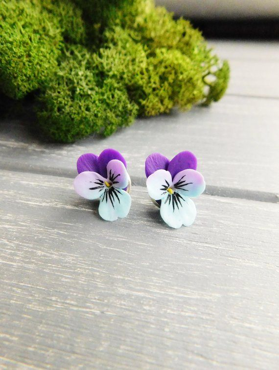 Pansy Stud Earrings Purple Blue Earrings Delicate Studs Flower Earrings Cute Earrings Small Studs Si Flower Jewellery Etsy Earrings Blue Earrings
