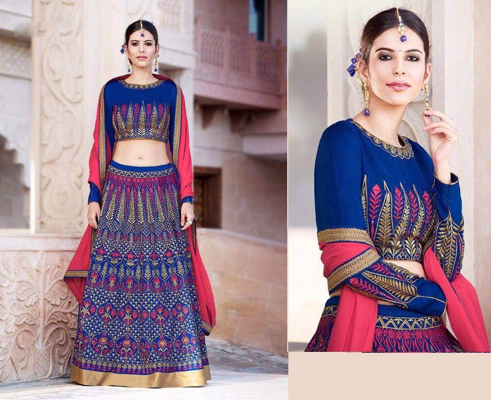 Traditional tunisian wedding dress  Latest Bridal Wear Banglori Silk Lehenga Choli in Blue color