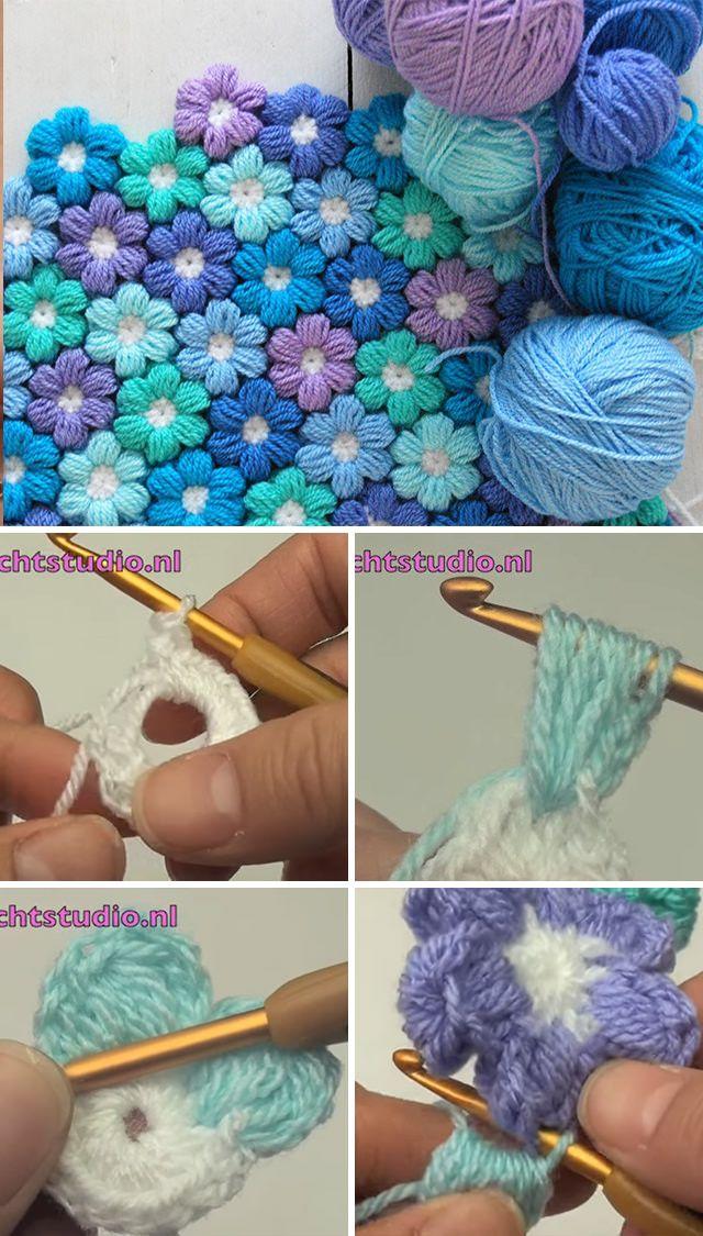 Joined Puff Flowers Crochet Pattern Tutorial | Pinterest ...