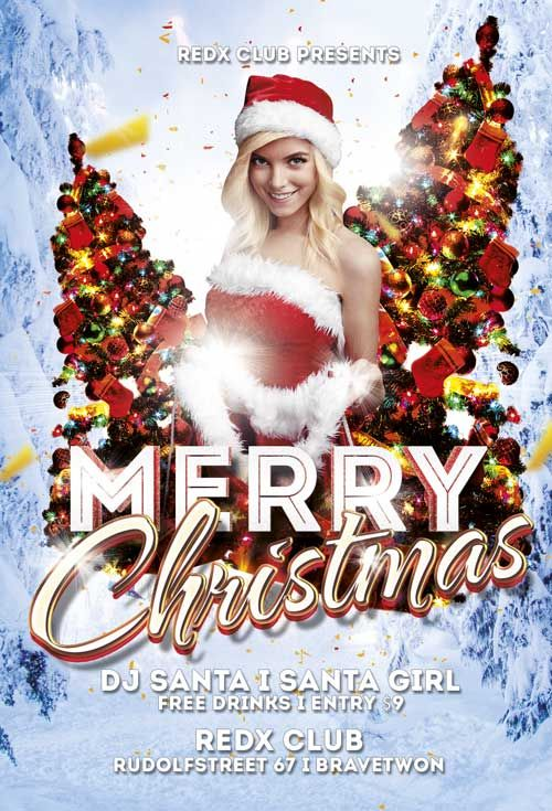 Free Merry Christmas Party Flyer Template -    freepsdflyer - flyer invitation templates free