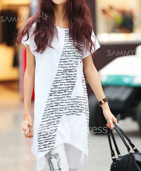 $8.89 Chic Style Scoop Neck Letter Print Loose Fit Short Sleeves T-shirt For Women